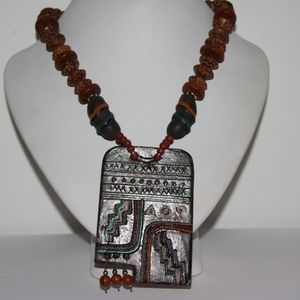 """Jewelry - Large Wooden handmade necklace 24"""""""